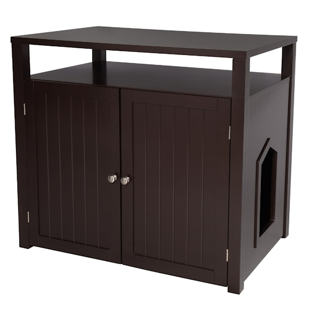"""Arf Pets Black Cat Litter Box Enclosure Furniture Large Box House with Table, 31.5"""" L X 20"""" W X 21"""" H - Carousel image #1"""