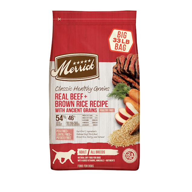 Merrick Classic Healthy Grains Real Beef & Brown Rice Recipe with Ancient Grains Dry Dog Food, 33 lbs. - Carousel image #1