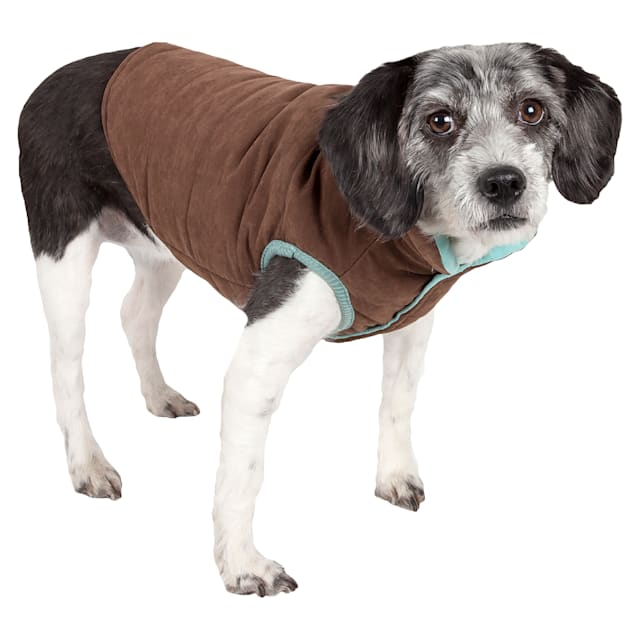 Touchdog Brown Waggin Swag Reversible Insulated Pet Coat, X-Small - Carousel image #1