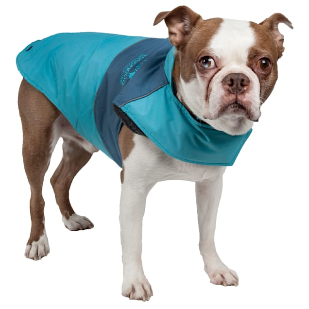 Touchdog Blue Lightening-Shield Waterproof 2-in-1 Convertible Dog Jacket, X-Small - Carousel image #1