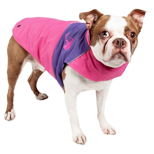 Touchdog Pink Lightening-Shield Waterproof 2-in-1 Convertible Dog Jacket, X-Small - Carousel image #1