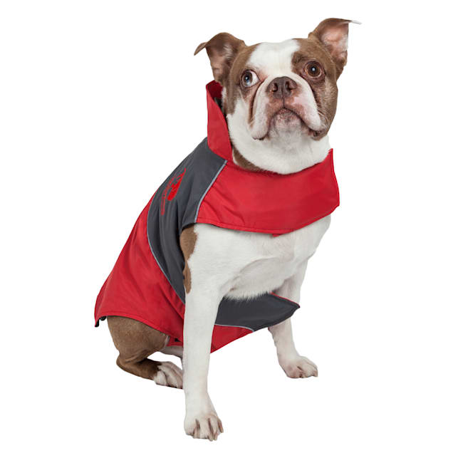 Touchdog Red Lightening-Shield Waterproof 2-in-1 Convertible Dog Jacket, X-Small - Carousel image #1