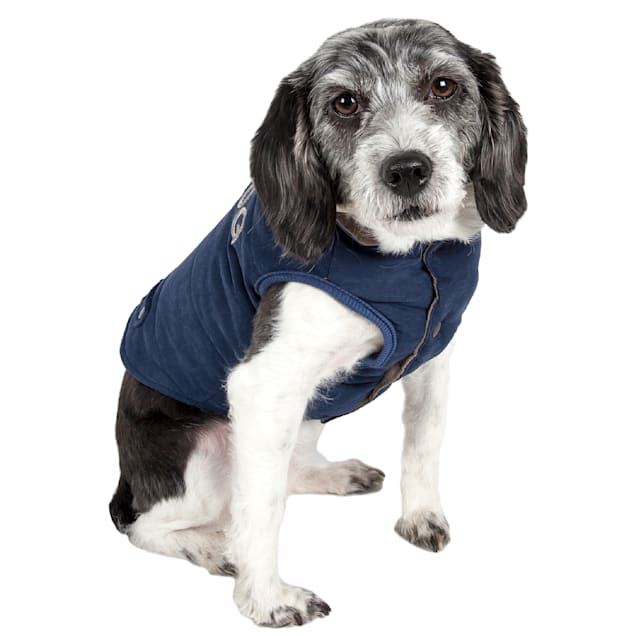 Touchdog Blue Waggin Swag Reversible Insulated Pet Coat, X-Small - Carousel image #1