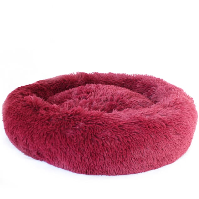 """Bow Wow Pet Burgundy Ultra Plush Shaggy Round Donut Pet Bed, 22"""" L X 22"""" W X 6"""" H - Carousel image #1"""