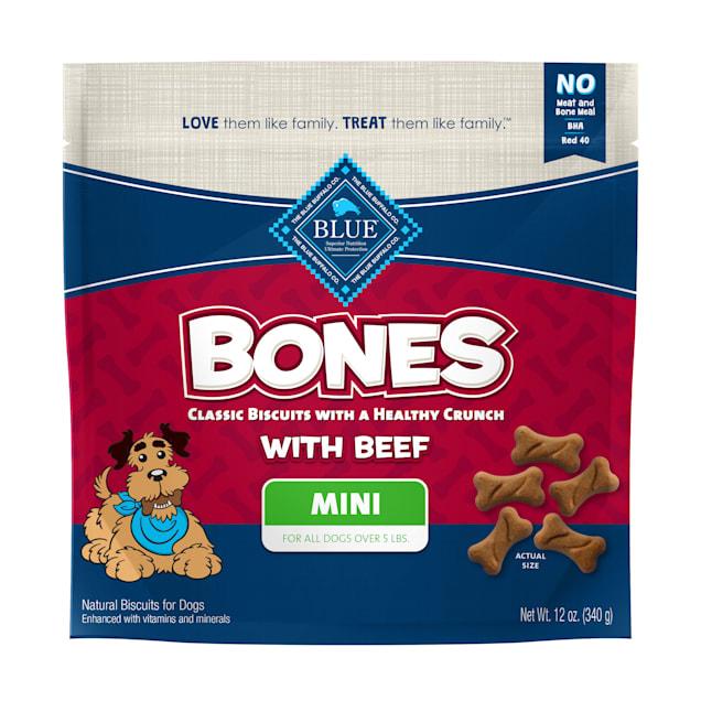 Blue Buffalo Bones Natural Crunchy Beef Flavor Mini Dog Biscuits, 12 oz. - Carousel image #1