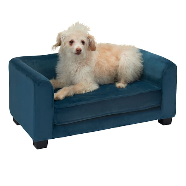 "Enchanted Home Pet Peacock Blue Surrey Pet Sofa, 26"" L X 16"" W - Carousel image #1"
