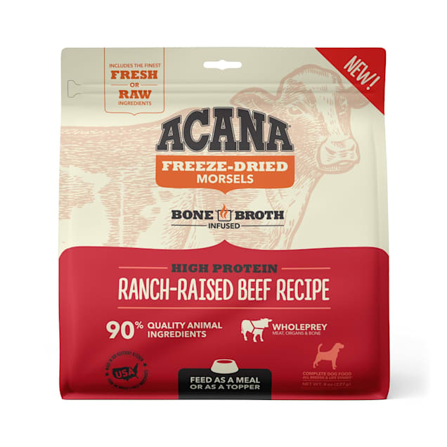 ACANA Grain Free High Protein Fresh & Raw Animal Ingredients Ranch-Raised Beef Recipe Freeze Dried Morsels Dog Food, 8 oz. - Carousel image #1
