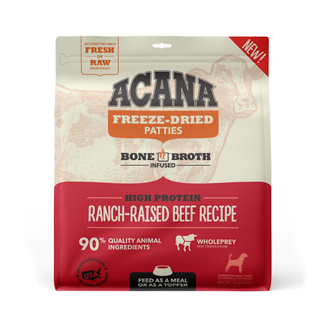 ACANA Grain Free High Protein Fresh & Raw Animal Ingredients Ranch-Raised Beef Recipe Freeze Dried Patties Dog Food, 14 oz. - Carousel image #1