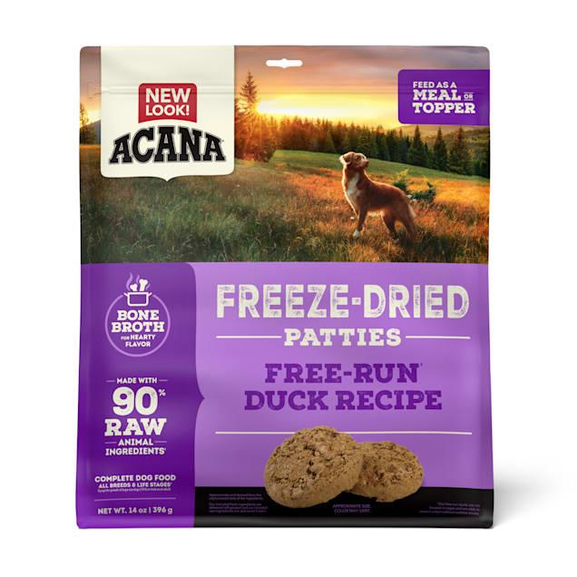 ACANA Grain Free High Protein Fresh & Raw Animal Ingredients Duck Recipe Freeze Dried Patties Dog Food, 14 oz. - Carousel image #1