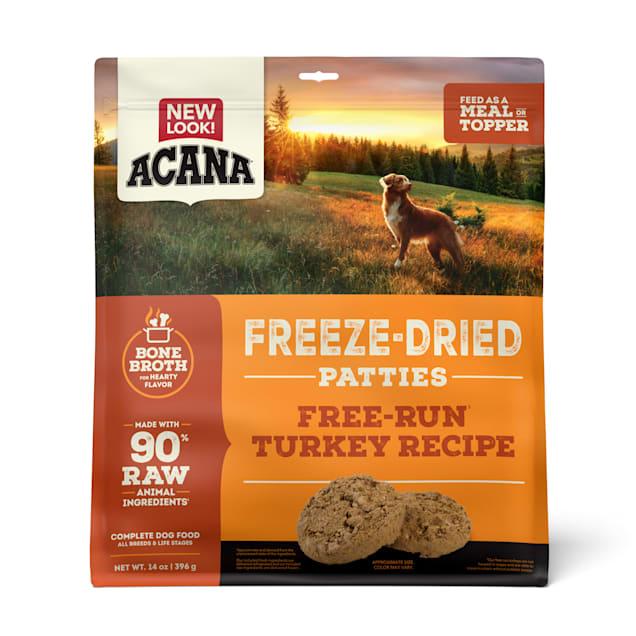 ACANA Grain Free High Protein Fresh & Raw Animal Ingredients Free-Run Turkey Recipe Freeze Dried Patties Dog Food, 14 oz. - Carousel image #1