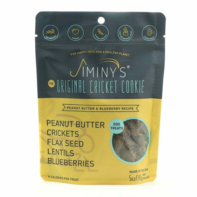 Jiminy's Peanut Butter & Blueberry Recipe Cricket Cookie Dog Treats, 5 oz. - Carousel image #1