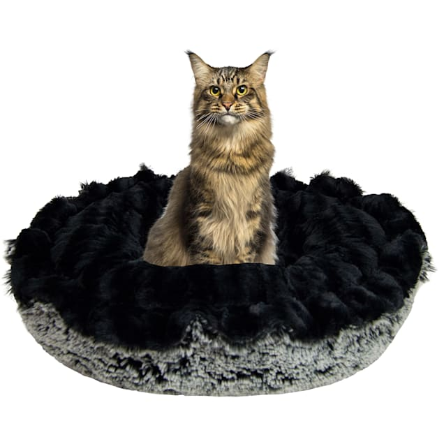 """Bessie and Barnie Ultra Plush Black Puma/Midnight Frost Luxury Deluxe Pet Lily Pod Bed, 24"""" L X 24"""" W - Carousel image #1"""
