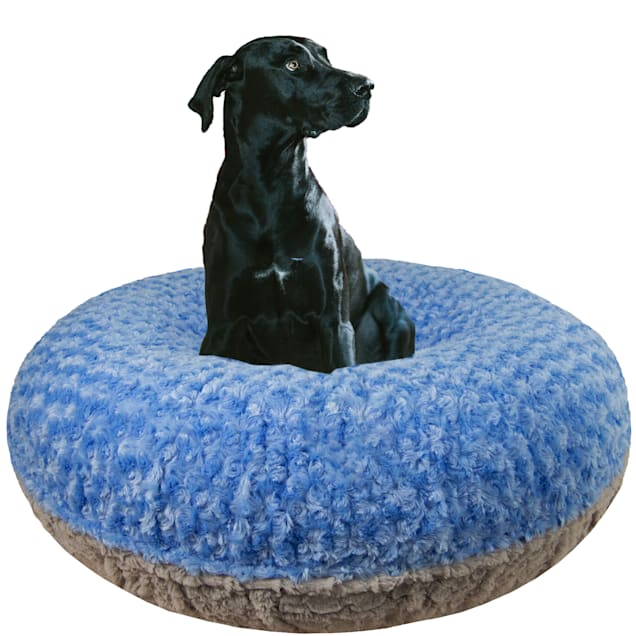 """Bessie and Barnie Signature Blue Sky/Serenity Gray Luxury Extra Plush Faux Fur Bagel Dog Bed, 24"""" L X 24"""" W - Carousel image #1"""