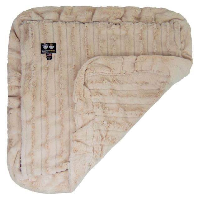 """Bessie and Barnie Natural Beauty Ultra Plush Faux Fur Super Soft Reversible Pet Blanket, 20"""" L X 20"""" W - Carousel image #1"""