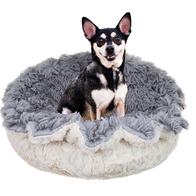 """Bessie and Barnie Ultra Plush Siberian Gray/Serenity Ivory Luxury Deluxe Pet Lily Pod Bed, 24"""" L X 24"""" W - Carousel image #1"""