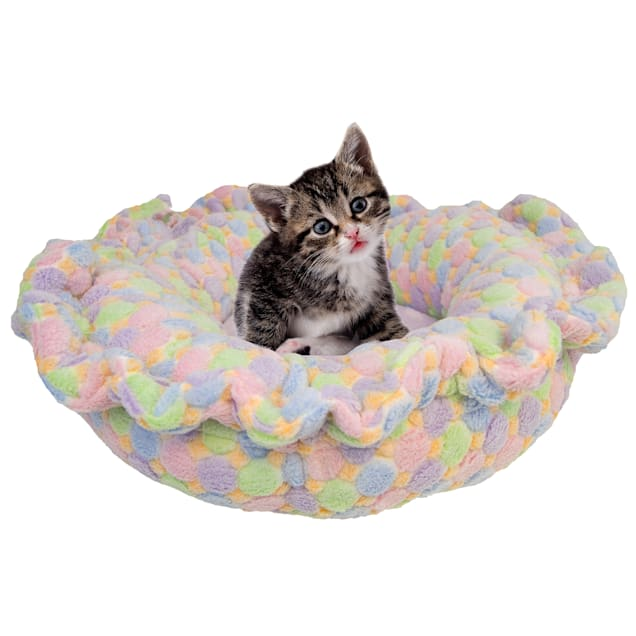 """Bessie and Barnie Ultra Plush Ice Cream/Lilac Luxury Deluxe Pet Lily Pod Bed, 24"""" L X 24"""" W - Carousel image #1"""