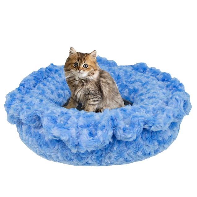 """Bessie and Barnie Ultra Plush Blue Sky/Wolfhound Gray Luxury Deluxe Pet Lily Pod Bed, 24"""" L X 24"""" W - Carousel image #1"""