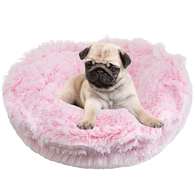 "Bessie and Barnie Ultra Plush Bubble Gum/Snow White Luxury Deluxe Pet Lily Pod Bed, 24"" L X 24"" W - Carousel image #1"