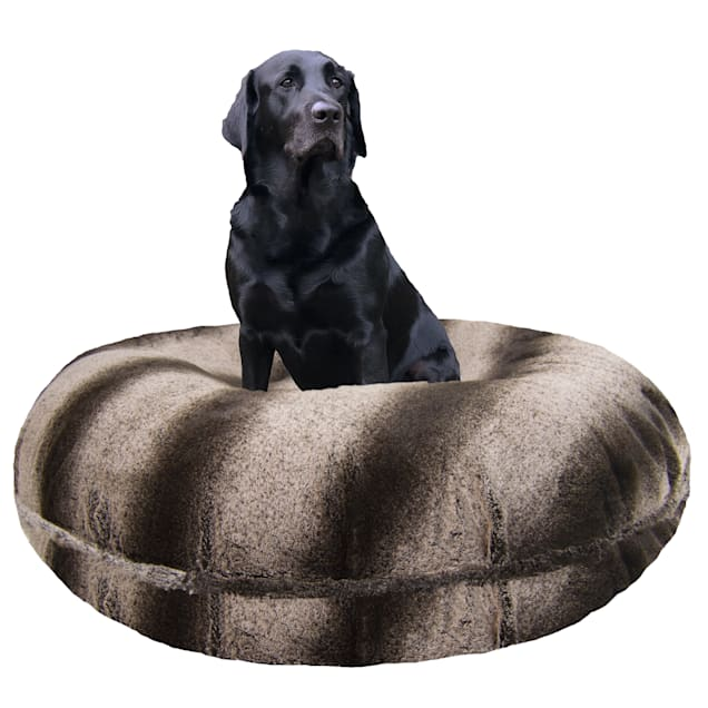 """Bessie and Barnie Signature Frosted Glacier Luxury Extra Plush Faux Fur Bagel Dog Bed, 24"""" L X 24"""" W - Carousel image #1"""