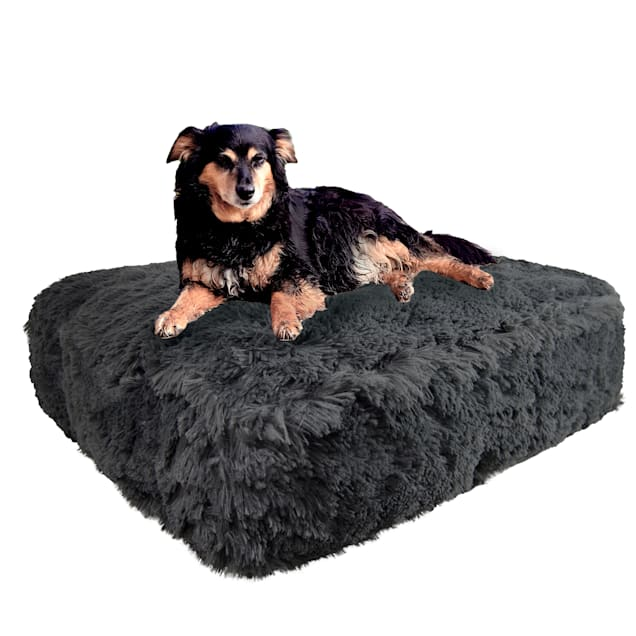 "Bessie and Barnie Wolfhound Gray Luxury Extra Plush Faux Fur Rectangle Dog Bed, 28"" L X 24"" W - Carousel image #1"