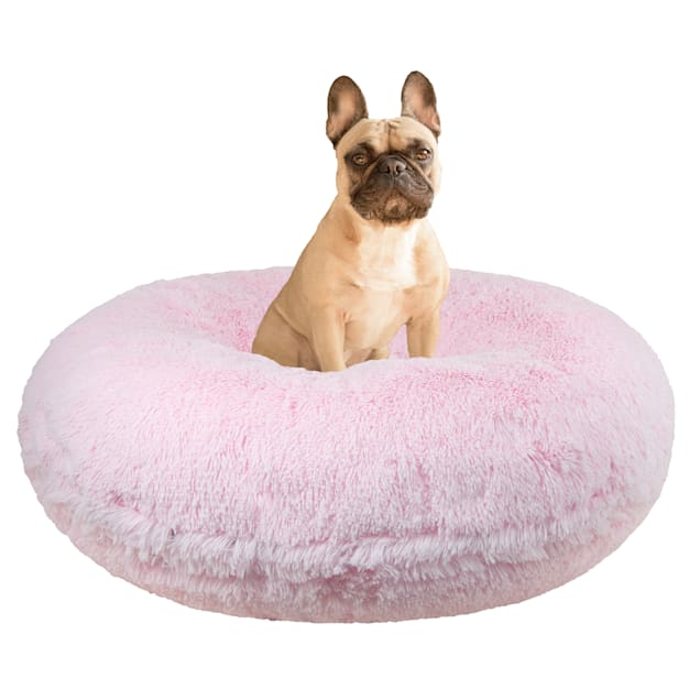 """Bessie and Barnie Signature Bubble Gum Luxury Extra Plush Faux Fur Bagel Dog Bed, 24"""" L X 24"""" W - Carousel image #1"""