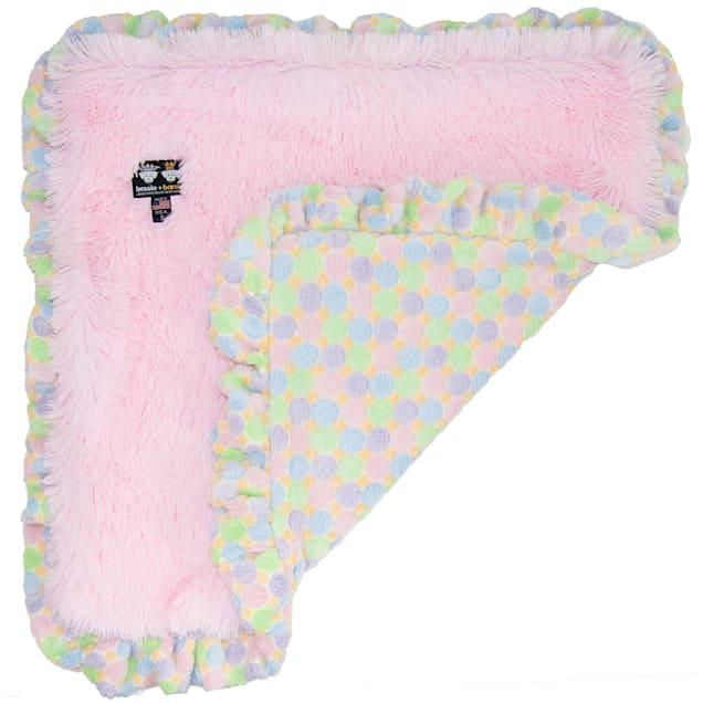 "Bessie and Barnie Bubble Gum/ Ice Cream Ultra Plush Faux Fur Super Soft Reversible Pet Blanket, 20"" L X 20"" W - Carousel image #1"