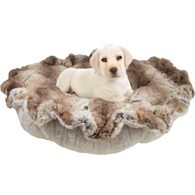 "Bessie and Barnie Ultra Plush Simba/Natural Beauty Deluxe Luxury Pet Cuddle Pod Bed, 30"" L X 30"" W - Carousel image #1"