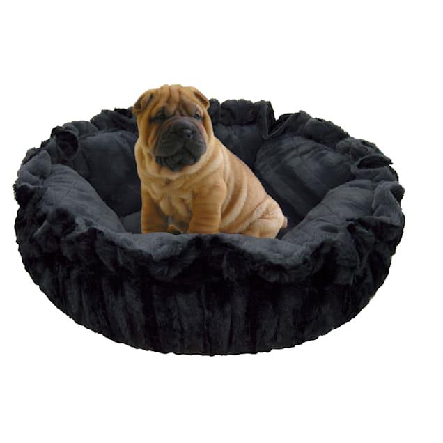 "Bessie and Barnie Ultra Plush Gravel Stone/Black Puma Deluxe Luxury Pet Cuddle Pod Bed, 30"" L X 30"" W - Carousel image #1"