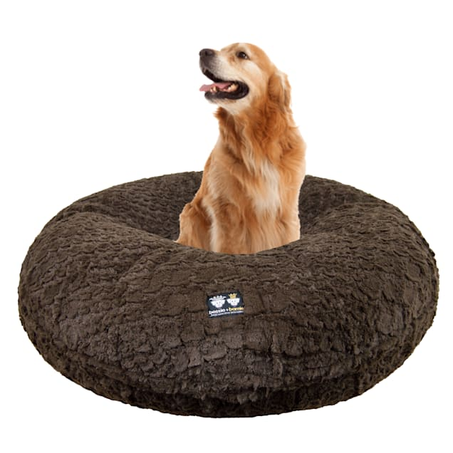 """Bessie and Barnie Signature Serenity Brown Luxury Extra Plush Faux Fur Bagel Dog Bed, 24"""" L X 24"""" W - Carousel image #1"""