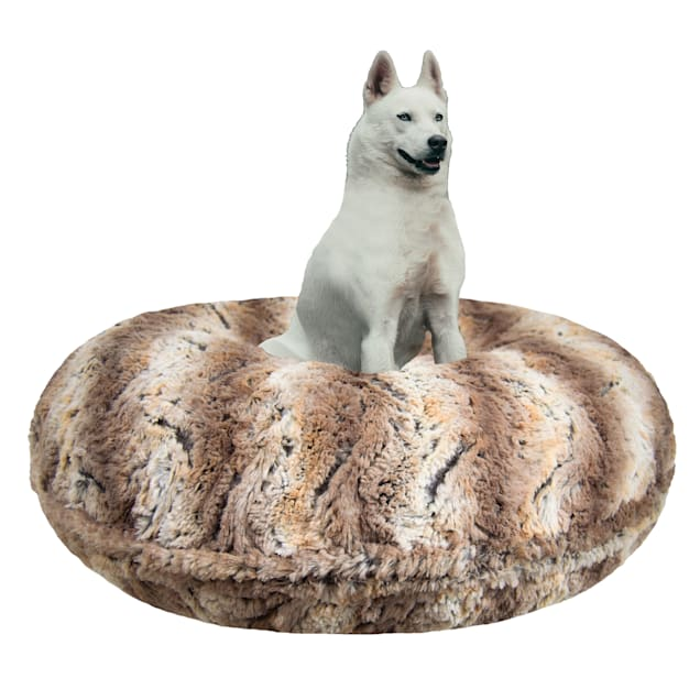 """Bessie and Barnie Signature Simba Luxury Extra Plush Faux Fur Bagel Dog Bed, 24"""" L X 24"""" W - Carousel image #1"""