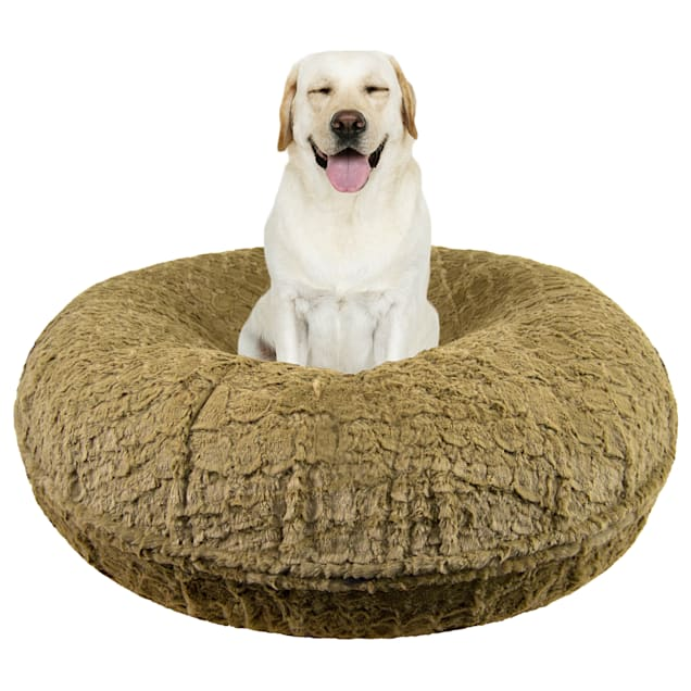 """Bessie and Barnie Signature Serenity Fawn Luxury Extra Plush Faux Fur Bagel Dog Bed, 24"""" L X 24"""" W - Carousel image #1"""