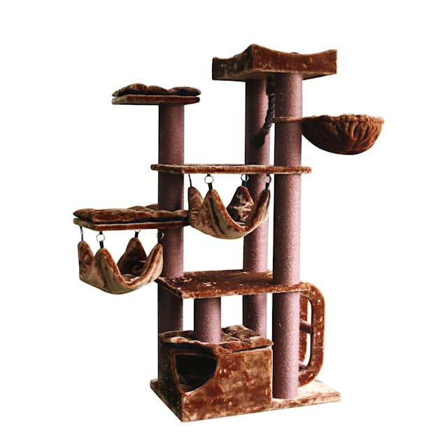 """Kitty Mansions Brown Seattle Cat Tree, 74"""" H - Carousel image #1"""