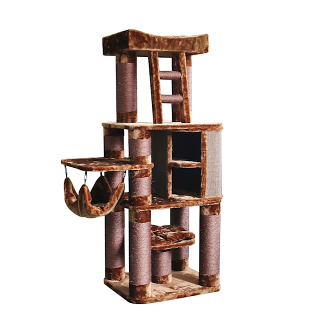 """Kitty Mansions Brown Melbourne Cat Tree, 71"""" H - Carousel image #1"""