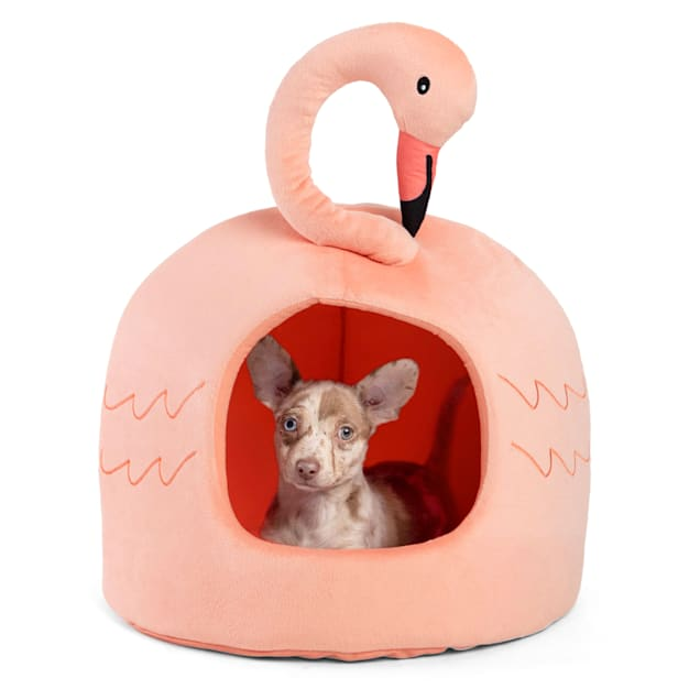 """Best Friends by Sheri Peach Flamingo Novelty Meow Hut Covered Bed for Pets, 16"""" L X 16"""" W - Carousel image #1"""