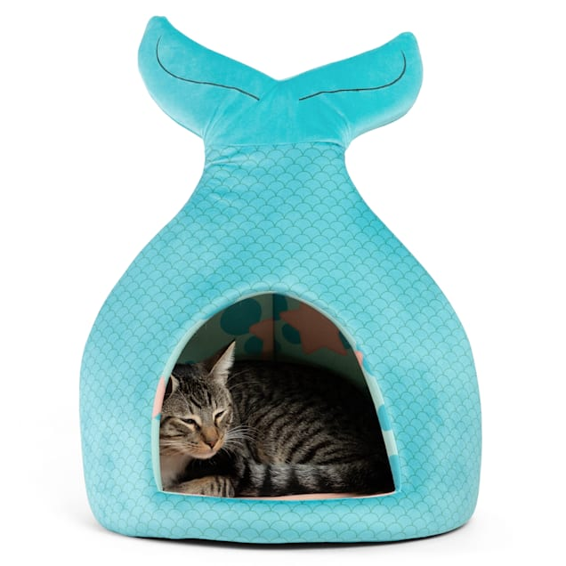 """Best Friends by Sheri Teal Mermaid Novelty Meow Hut Covered Bed for Pets, 16"""" L X 16"""" W - Carousel image #1"""