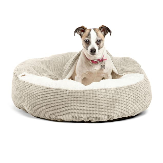 """Best Friends by Sheri Standard Oyster Cozy Cuddler Hooded Cat and Dog Bed in Mason Microfiber, 23"""" L X 23"""" W - Carousel image #1"""