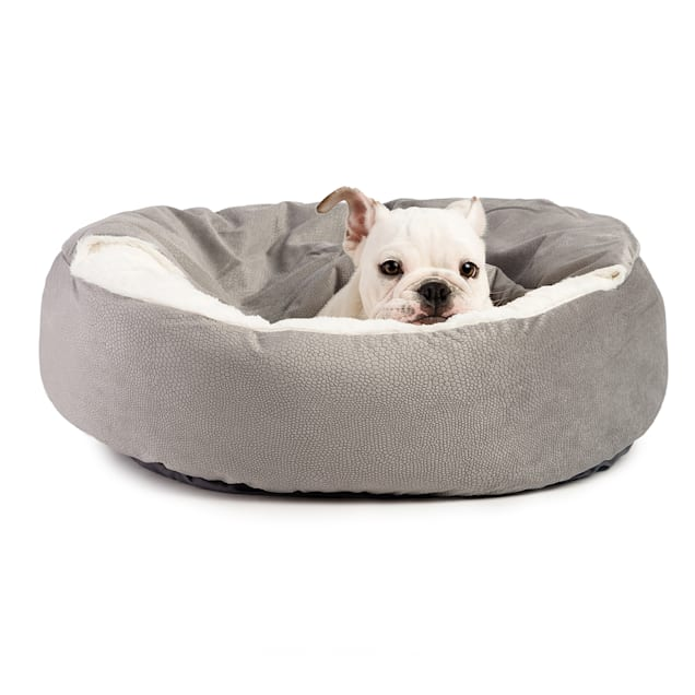 """Best Friends by Sheri Jumbo Gray Cozy Cuddler Hooded Cat and Dog Bed in Ilan Microfiber, 27"""" L X 27"""" W - Carousel image #1"""