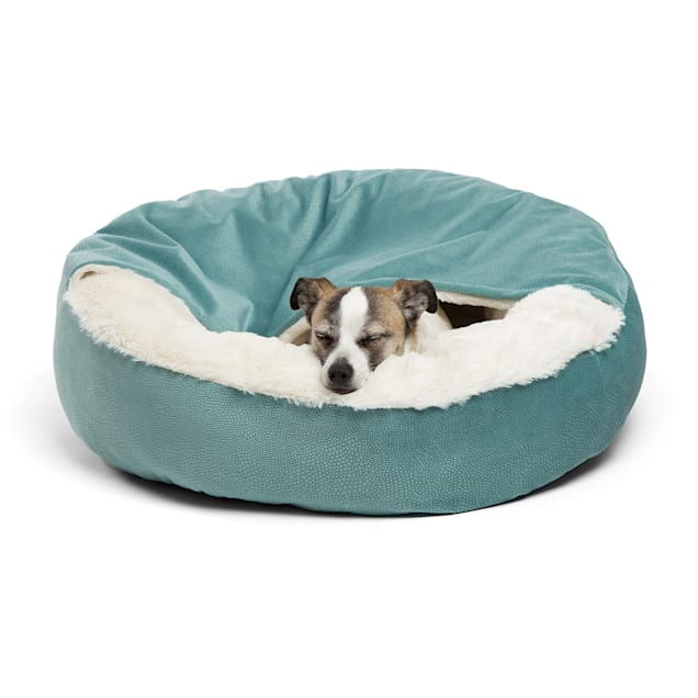 """Best Friends by Sheri Standard Tide Pool Cozy Cuddler Hooded Cat and Dog Bed in Ilan Microfiber, 24"""" L X 24"""" W - Carousel image #1"""