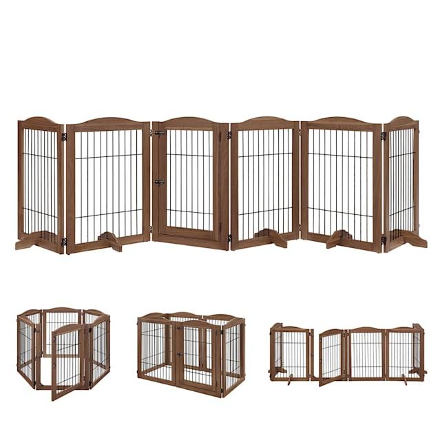 "UniPaws Wire 6 Panels Walnut Pet Gate, 132"" W X 32"" H - Carousel image #1"