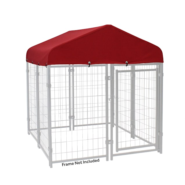 """Lucky Dog Canopy Pet Kennel Cover With Sunbrella Fabric - Firehouse Red, 48"""" L X 48"""" W X 12"""" H - Carousel image #1"""