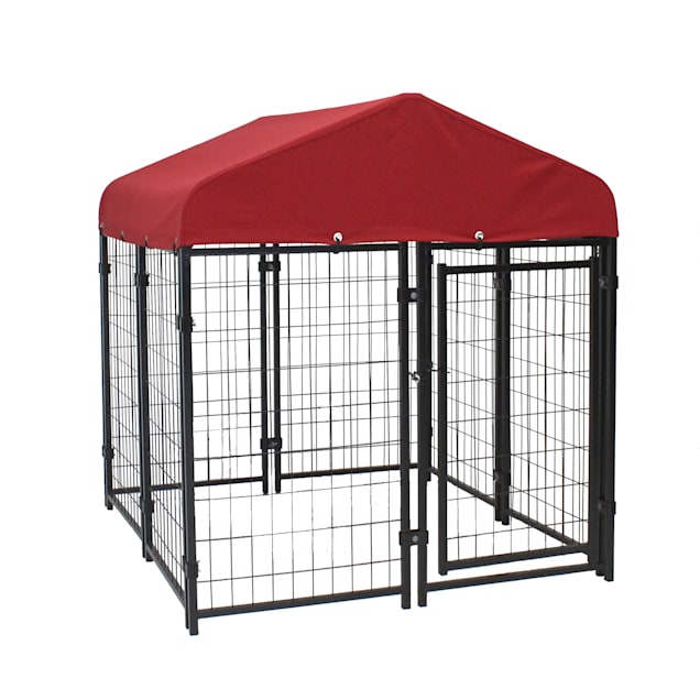 """Lucky Dog Pet Resort Kennel Kit With Sunbrella - Firehouse Red Cover, 48"""" L X 48"""" W X 52"""" H - Carousel image #1"""