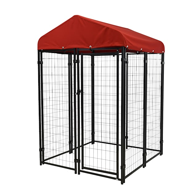 """Lucky Dog Uptown Pet Kennel Kit With Sunbrella - Firehouse Red Cover, 48"""" L X 48"""" W X 72"""" H - Carousel image #1"""