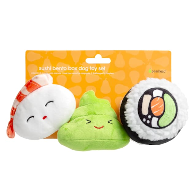 Pearhead Pet Sushi Plush Squeaker Dog Toys, Pack of 3 - Carousel image #1