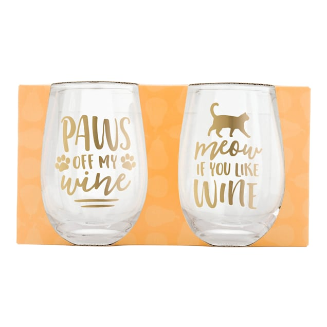 Pearhead Pet Cat Stemless 16 oz. Wine Glasses, Pack of 2 - Carousel image #1