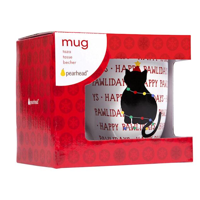 Pearhead Pet Happy Pawlidays 16 oz. Ceramic Cat Coffee Mug - Carousel image #1