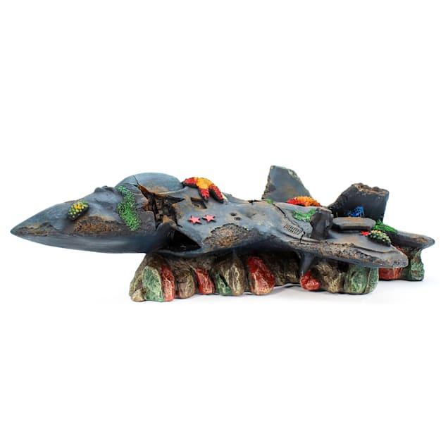 Penn Plax Fighter Jet Wreck Aquatic Decor, Large - Carousel image #1