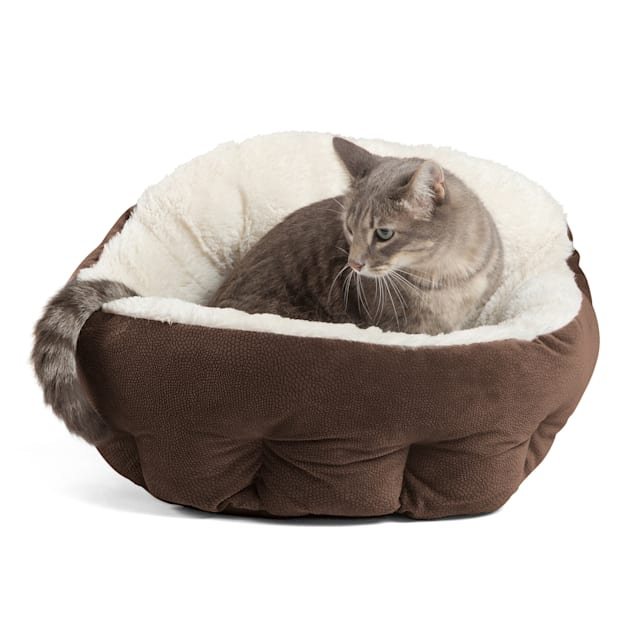 """Best Friends by Sheri Standard Dark Chocolate Deep Dish Orthocomfort Cat and Dog Bed in Ilan Microfiber, 20"""" L X 20"""" W - Carousel image #1"""