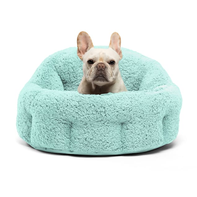 """Best Friends by Sheri Jumbo Teal Deep Dish Orthocomfort Cat and Dog Bed in Sherpa, 24"""" L X 24"""" W - Carousel image #1"""