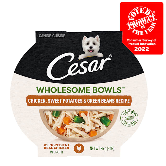 Cesar Wholesome Bowls Chicken, Sweet Potatoes & Green Beans Recipe Adult Soft Wet Dog Food, 3 oz., Case of 10 - Carousel image #1