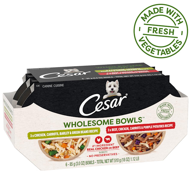 Cesar Wholesome Bowls Real Chicken or Beef in Broth Adult Soft Wet Dog Food Variety Pack, 3 oz., Pack of 6 - Carousel image #1